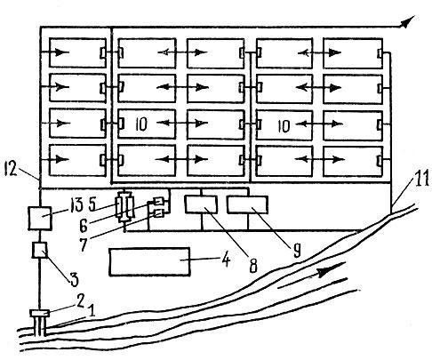 Схема осетрового рыбоводного