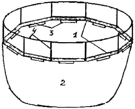 Рис. 4. Схема типовой конструкции садка: 1 - каркас; 2 - делевый мешок; 3 -поплавки из пенопласта; 4 - леерное ограждение